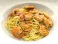 Spaghetti with shrimps Royalty Free Stock Photo
