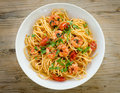 Spaghetti with shrimps and parsley Royalty Free Stock Photo