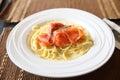 Spaghetti with smoked salmon Royalty Free Stock Photo