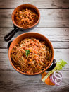 Spaghetti with  soy ragout Stock Photo
