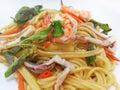 Spaghetti with spicy prawn