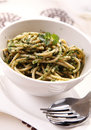 Spaghetti with spinach tasty and spices Royalty Free Stock Photo