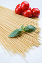 Spaghetti with tomato and basilic Royalty Free Stock Photo