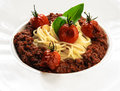 Spaghetti tomato meat sauce close up Stock Image