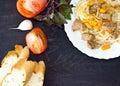 Spaghetti tomato and rosemary bread and garlic Royalty Free Stock Photo
