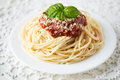 Spaghetti with tomato sauce and cheese Stock Photography