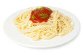 Spaghetti with tomato sauce and dill isolated on white background Royalty Free Stock Photography