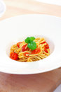 Spaghetti with tomato sauce garlic and basil Royalty Free Stock Photos