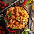 Spaghetti with tomato sauce and meatballs Royalty Free Stock Photo