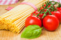 Spaghetti with tomatoes and basil Royalty Free Stock Photography