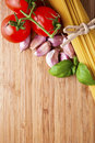 Spaghetti and tomatoes with copyspace Stock Image