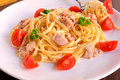 Spaghetti tuna fresh fish in Stock Photography