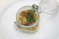 Spaghetti with tuna sauce and parsley served on glass bowl this is a typical dish of the south of italy Royalty Free Stock Photos