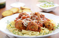 Spaghetti with turkey meatballs healthy Royalty Free Stock Image