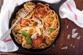 Spaghetti with turkey meatballs Royalty Free Stock Photo