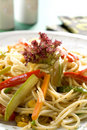 Spaghetti with vegetables Royalty Free Stock Photos