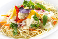 Spaghetti with vegetables on white plate Stock Images