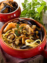 Spahetti with seafood Stock Images