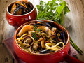 Spahetti with seafood Royalty Free Stock Images