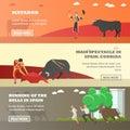 Spain Corrida and Running of the Bulls concept vector illustration. Bull, matador Royalty Free Stock Photo