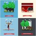 Spain Corrida, Running of the Bulls concept vector illustration. Bull and a matador Royalty Free Stock Photo
