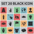 Spain country black icons in set collection for design.Travel and attractions vector symbol stock web illustration.