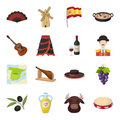 Spain country set icons in cartoon style. Big collection of Spain country vector symbol stock illustration