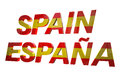 Spain d text with their flag colors isolated on white with clipping path Stock Photo