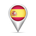 Spain flag map pointer with shadow. Vector illustration Royalty Free Stock Photo