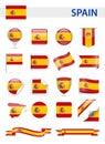 Spain Flag Vector Set Royalty Free Stock Photo