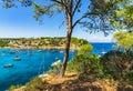 Spain Majorca Mallorca bay with boats at Portals Vells Royalty Free Stock Photo