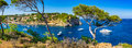Spain Majorca Panorama of bay with boats in Portals Vells Royalty Free Stock Photo