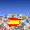 Spain map flag on euros Stock Photos