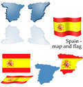 Spain - map and flag set Royalty Free Stock Photo