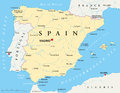 Spain map of with national borders most important cities rivers and lakes Royalty Free Stock Photography