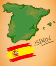 Spain Map and National Flag Vector Royalty Free Stock Photo
