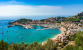Spain Mediterranean Sea idyllic view of Port de Soller Majorca Royalty Free Stock Photo