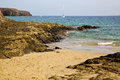 Spain musk pond beach water boat summer in lanzarote yacht coastline and Stock Photos