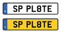 Spain number plate white and yellow Stock Photos