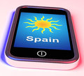 Spain on phone means holidays and sunny weather meaning Stock Image
