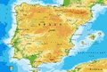 Spain physical map Royalty Free Stock Photo