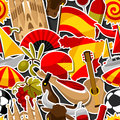 Spain seamless pattern. Spanish traditional sticker symbols and objects