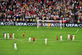 Spain squad breaks penalties Royalty Free Stock Image