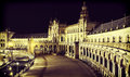 Spain square seville at night in Stock Image