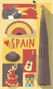 Spain symbols on a poster or postcard vector illustration set of famous cultural of Stock Photo