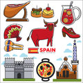 Spain travel destination promotional poster with customs illustrations