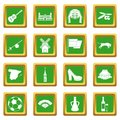 Spain travel icons set green
