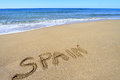 Spain written on sandy beach Royalty Free Stock Images