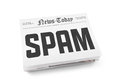 Spam concept word writing on the front page of newspaper stack isolated on white background Stock Photos