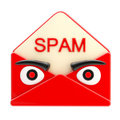 Spam letter emblem as an angry red face envelope Stock Photography